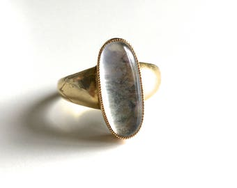 Dreamy Antique Victorian Moonstone Solitaire 15K Gold Ring