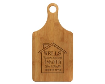 Personalized BAMBOO Paddle Cutting Board, Custom Engraved, Bless this Home, Friends, Family, Love & Laughter, Forever, Gift --21020-PADB-001