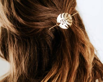 Monstera Leaf Hair Pin | Brass Hair Clip | Brass Hair Slide | Hair Barrette | Hair Accessory | Palm Leaf