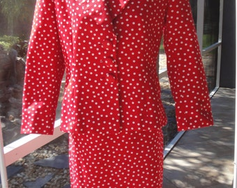 Vintage Elie Wacs Blazer and Pencil Skirt, 1980s, Crisp Chic White polka dots on red, Size 6, Made in USA with ILGWU Union label