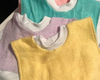 Set of 4 Slipover Terry Cloth Baby Bibs - choose your colors - Free Shipping within US