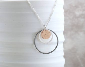 Long Layering Necklace Rose Gold Circle Necklace Mixed Metal Jewelry Geometric Pendant Necklace Hammered Circle Necklace Gift For Her