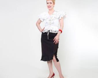 80s White Taffeta Pleated Ruffle and Lace Peplum Blouse S