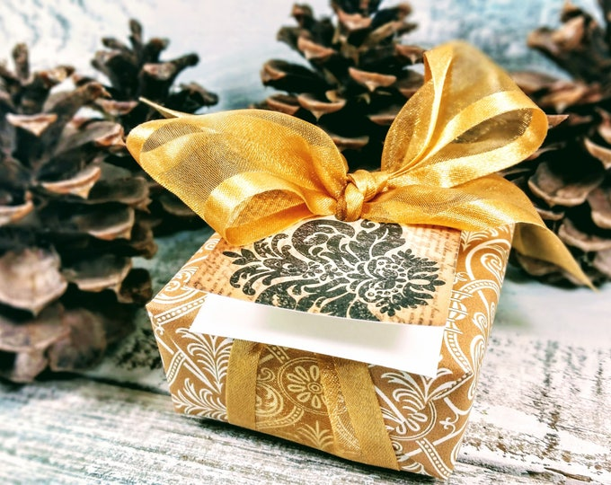 Gold Damask Soap Christmas Gift