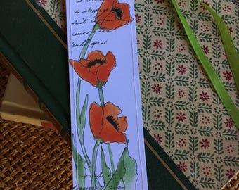 Watercolor Bookmark Deep Orange Red