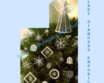 Simplicity 5180 Vintage Crochet Pattern, Angel Tree Topper, Ornaments, Snowflakes, Bells, Mobiles, Balls Christmas Holidays Uncut FF