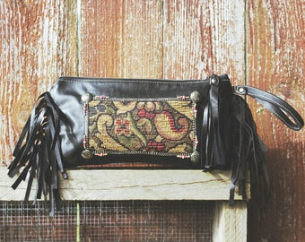 Black Leather fringe Clutch . Tribal SouthWest bohemian tapestry zipper handbag . Ebony Wind Keepsake Clutch