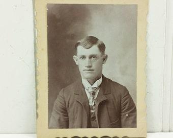 Plaid Tie Man, Victorian Gentleman in Suit Antique Photo Card