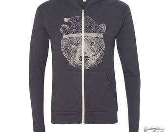 Unisex HOLIDAY BEAR Triblend Zip Lightweight Hoody -  xs s m l xl (+ Colors)