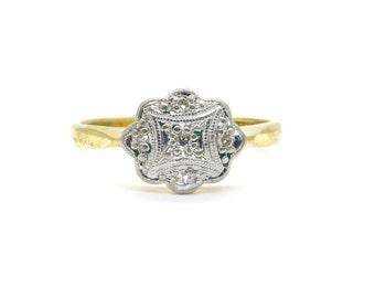Art Deco Diamond engagement ring c1930's Antique 18ct Platinum milgrain Neat Vintage English wedding anniversary birthday ring*Free Ship