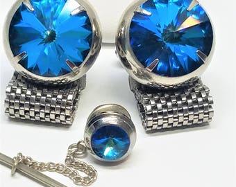 Blue Rivoli Crystal Silver Mesh Wrap Around Cuff links Tie Tack Vintage Cufflinks
