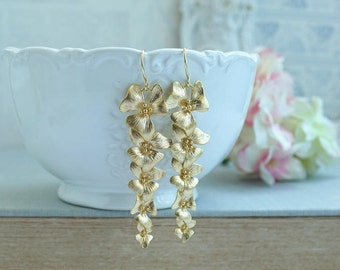 Gold Orchid Flower Earrings Gold Floral Dangle Earring Long Gold Orchid Earring Bridal Flower Jewelry Cascading Flowers Nickel Free Earrings