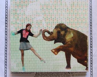 Unique, Fine Art, Original, Art, Photography, Mime, Elephant, Circus, Dancer, Portrait, Girl, Patterned, Paper, 8 x 8