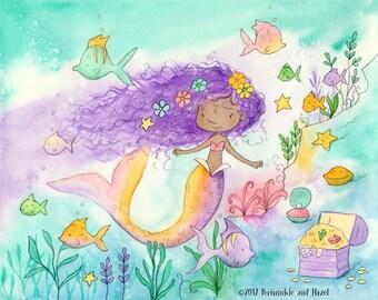 Mermaid with Purple Hair - African American Girl -  Art Print