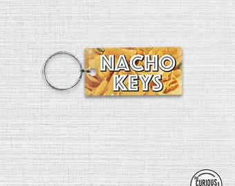 Keychain  Nacho Keys Cheesy Chips Funny Acrylic Key Ring Keychain 1.5 x 3 Inch