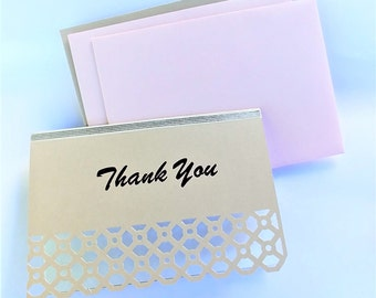 Thank you card set in pink and champagne