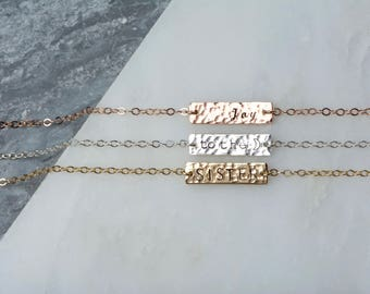 Hammered Hand Stamped Bracelet, Jewelry Friendship Name Charm, Custom Date Bracelet, Small Name Bracelet, Tiny Initial Bracelet Bar Charm