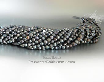Freshwater Black Pearls 6mm - 7mm Loose Pearls White Potato Pearl Beads Nugget Pearl