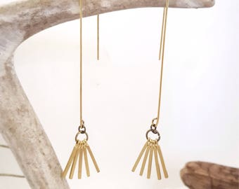 Threader Earrings Dainty Earrings Gold Fringe Earrings Dangly Earrings Modern Earrings Jewelry Gold Threader Earrings Dynamo Gold Tassel