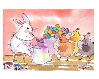 Easter Card, Funny Easter Card, Easter Greeting Card, Handmade Watercolor Easter Card, Easter Bunny Card, 'The Artist At Work'