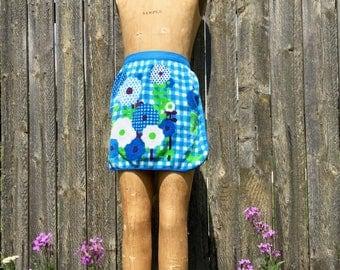 vintage half apron blue green check flower terry cloth towel