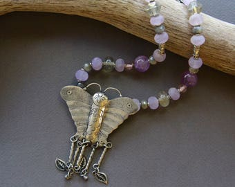 Miao Hill Tribe Butterfly Necklace Adorable Silver Plated Pendant w Amethyst and Labradorite Soft Lavender and Grey Gemstone Jewelry