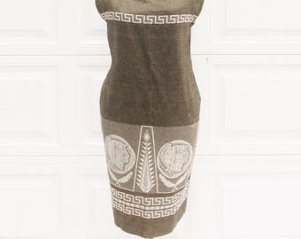 Vintage Shift Dress with Greek Key and Coin Motif