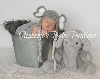 Crochet Baby Elephant Earflap Hat, Custom Made To Order, Newborn, 0-3, 3-6 Months. Boy, Girl Photo Prop, Baby Shower Gift, Animal Zoo Beanie
