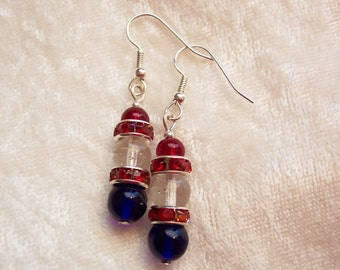 4th of July Earrings, Red White Blue Earrings, Independence Day Earrings, Red Rhinestone Earrings, Patriotic Earrings, Clip ons Available