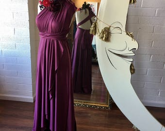 Sea Gypsy Berry- Tulip Cut Long Maxi Dress -Octopus Infinity Convertible Wrap Gown~ Bridesmaids, Bohemian, Maternity, Prom