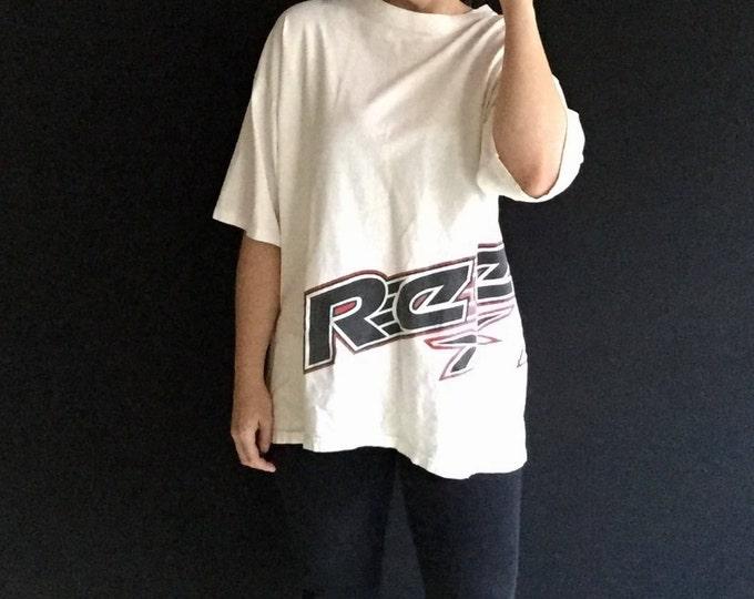 White Reebok Tee | XL L 90s unisex short sleeve cotton athletic urban vintage tshirt hipster health goth