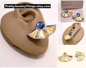 Avon Blue Bead Pleated Fan Clip On Earrings Gold Tone Vintage 1987 Chevron Rib Lined Large Discs