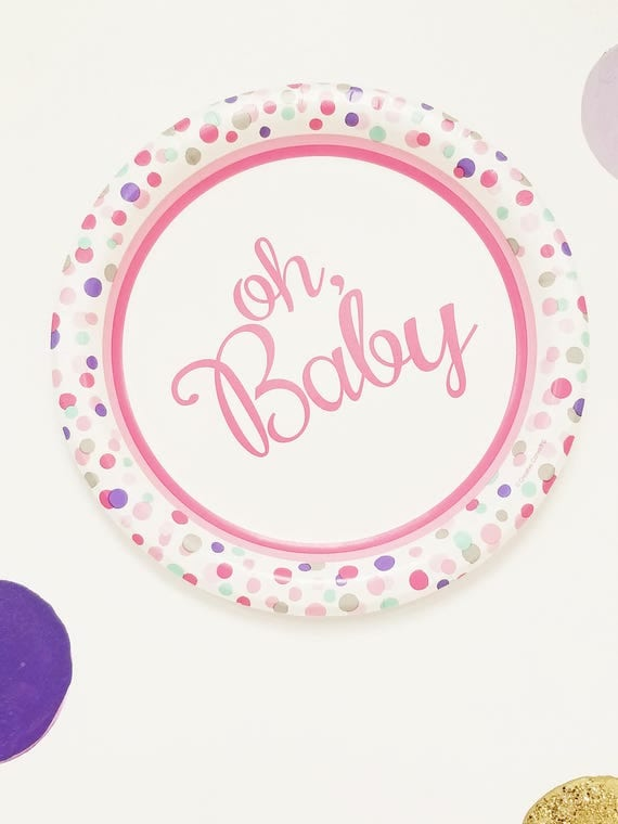 15ct OH BABY 8.25  Paper Plates Dinner Baby Shower Light Pink Confetti Polka Dots Whimsical Its a Girl Theme Shower Pink Script Purple Mint & 15ct OH BABY 8.25