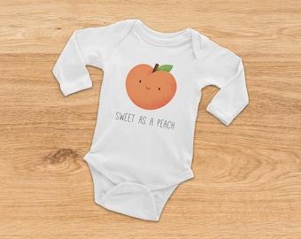 Baby Girl Onesie, Long Sleeve Onesie, Christmas Baby Gift, Baby Shower Gift, Funny Onesie, Baby Boy Onesie, Peach Onesie, Gift for Baby