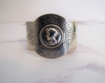 Antique Victorian Neoclassical Revival Wide Sterling Silver Cuff Bracelet. American Gorham Co C1860. Engraved Monogrammed  Grecian Bangle