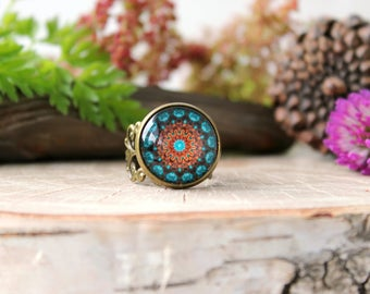 Brown And Turquoise Kaleidoscope Ring, Mandala Ring, Adjustable Ring, Antique Bronze Ring, Glass Dome Ring