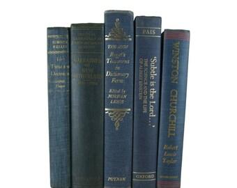 Blue  Decorative Books , Bookshelf Decor, Decorative Book Set , Photo Props ,  Wedding Book Decor , Book Lover Set