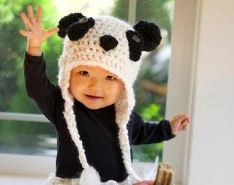 Panda Bear Hat - Baby Panda Hat - Crochet Panda Hat - Black and White Panda Hat - Baby Winter Hat - Bear Hat - Photo Prop -by JoJosBootique