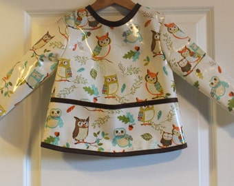 Toddler Baby Long Sleeved Art Smock Painting Smock in Cream withOwls