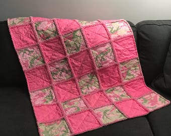 Pink Camo Baby Rag Quilt Handmade One Of A Kind Baby Rag Quilt Baby Crib Nursery Shabby Chic Quilt  1