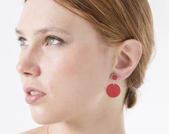 Rhodium dangle earrings, Pendulum wood earrings, Long boho earrings, Geometric earrings, Summer earrings, Large earrings wooden handmade