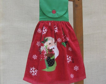 Santa Claus Hand Made Towel / Christmas Dish Towel / Hanging Kitchen Towels / Holiday Decor / Santa Claus Decorations / Red and Green