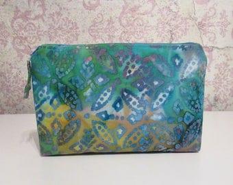 Batik Cotton Zipper Pouch // Travel & Organizer Pouch