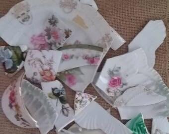 Broken China Shards, Vintage Bone China, Broken China Shards, Crafts, Mosaic Projects, DIY