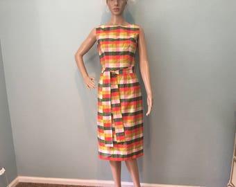 Autumn Plaid Silk Sleeveless Dress - 1960s