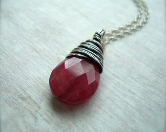 Ruby Necklace - July birthstone - Raw Ruby Jewellery - Gift for her - Ruby pendant - July birthday gift - Sterling silver necklace