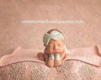 Baby Girl Photo Prop Newborn Photo Prop Christening Headband Lace Headband Baptism Headband Newborn Wristlets And Headband Beaded Headband