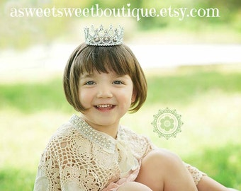 Child Rhinestone Crown Flower Girl Crown Child Tiara Princess Photo Prop Baby Tiara Baby Headband Princess Crown Rhinestone Crown Headband