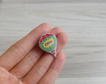 Vintage 80's Hot Air Balloon Enamel Pin Badge