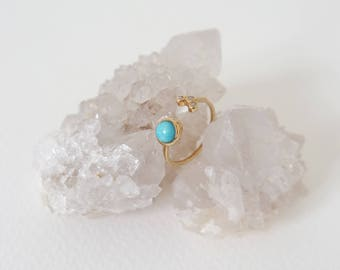 Alix - Turquoise Stacking Ring in Gold, Adjustable Ring, Gifts for her